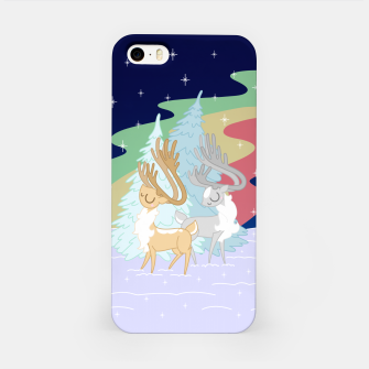Miniatur Reindeers in the Northern Lights iPhone Case, Live Heroes