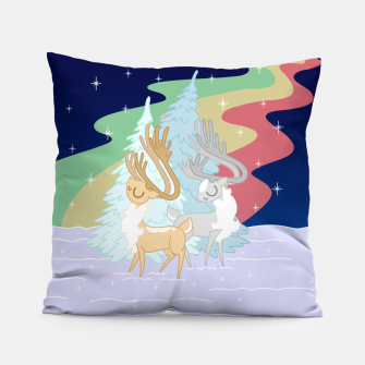 Miniature de image de Reindeers in the Northern Lights Pillow, Live Heroes