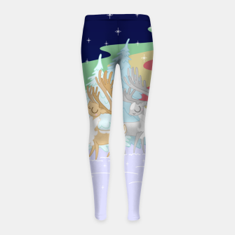 Miniaturka Reindeers in the Northern Lights Girl's leggings, Live Heroes