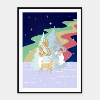 Miniaturka Reindeers in the Northern Lights Framed poster, Live Heroes
