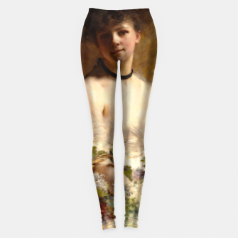 Thumbnail image of Young Woman with Flower Basket by Charles Joshua Chaplin Leggings, Live Heroes