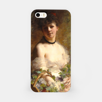 Thumbnail image of Young Woman with Flower Basket by Charles Joshua Chaplin iPhone Case, Live Heroes