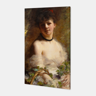 Thumbnail image of Young Woman with Flower Basket by Charles Joshua Chaplin Canvas, Live Heroes