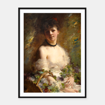Thumbnail image of Young Woman with Flower Basket by Charles Joshua Chaplin Framed poster, Live Heroes