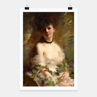 Thumbnail image of Young Woman with Flower Basket by Charles Joshua Chaplin Poster, Live Heroes