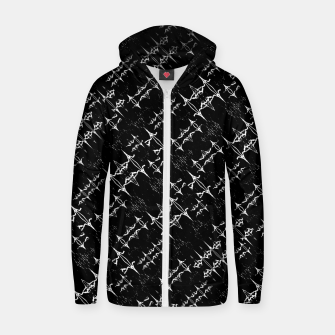Thumbnail image of Black and White Ethnic Geometric Pattern Zip up hoodie, Live Heroes