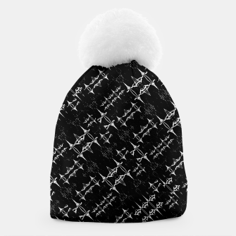 Black and White Ethnic Geometric Pattern Beanie obraz miniatury