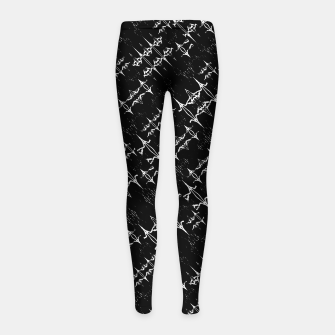 Black and White Ethnic Geometric Pattern Girl's leggings obraz miniatury