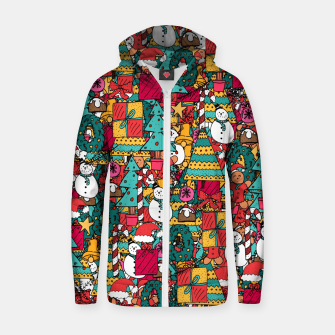 Thumbnail image of Merry Christmas pattern Zip up hoodie, Live Heroes