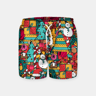 Thumbnail image of Merry Christmas pattern Swim Shorts, Live Heroes