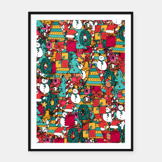 Thumbnail image of Merry Christmas pattern Framed poster, Live Heroes