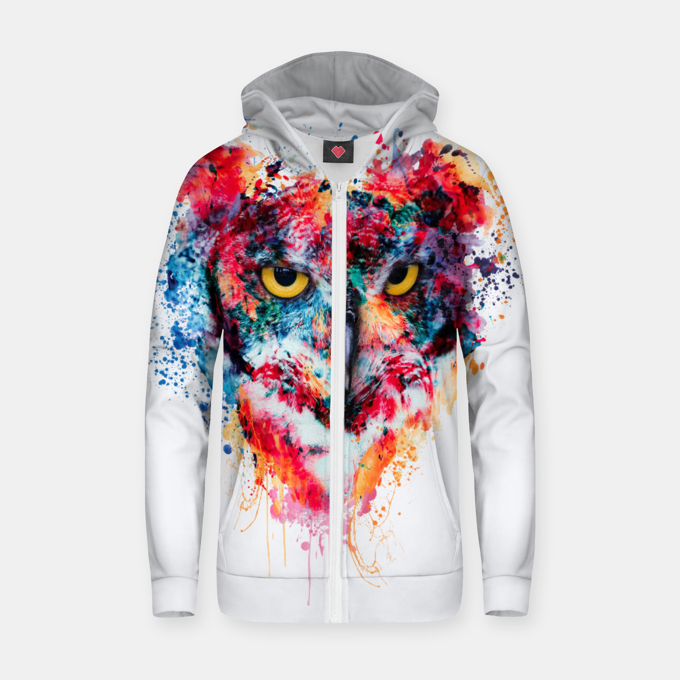 Image of Owl Zip up hoodie - Live Heroes