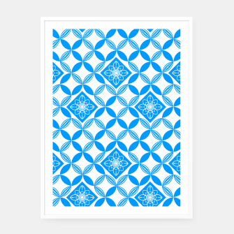 Thumbnail image of Flowery Pattern in blue Framed poster, Live Heroes