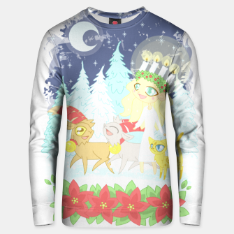 Thumbnail image of Lusse Bride, Saffron the Cat, and the Yule Goats Unisex sweater, Live Heroes