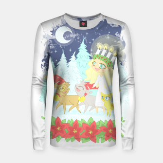 Thumbnail image of Lusse Bride, Saffron the Cat, and the Yule Goats Women sweater, Live Heroes