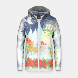 Thumbnail image of Lusse Bride, Saffron the Cat, and the Yule Goats Zip up hoodie, Live Heroes