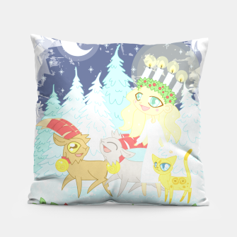 Thumbnail image of Lusse Bride, Saffron the Cat, and the Yule Goats Pillow, Live Heroes