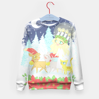 Thumbnail image of Lusse Bride, Saffron the Cat, and the Yule Goats Kid's sweater, Live Heroes