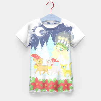 Thumbnail image of Lusse Bride, Saffron the Cat, and the Yule Goats Kid's t-shirt, Live Heroes