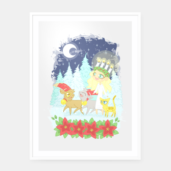 Thumbnail image of Lusse Bride, Saffron the Cat, and the Yule Goats Framed poster, Live Heroes