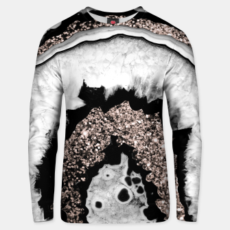 Gray Black White Agate with Rose Gold Glitter #1a #gem #decor #art  Unisex sweatshirt miniature