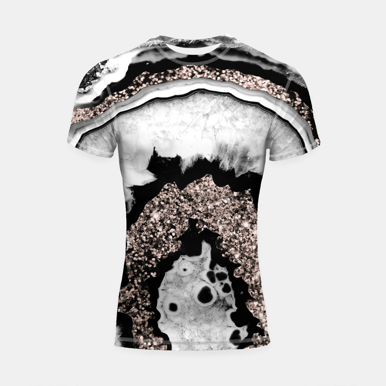 Image de Gray Black White Agate with Rose Gold Glitter #1a #gem #decor #art  Shortsleeve rashguard - Live Heroes
