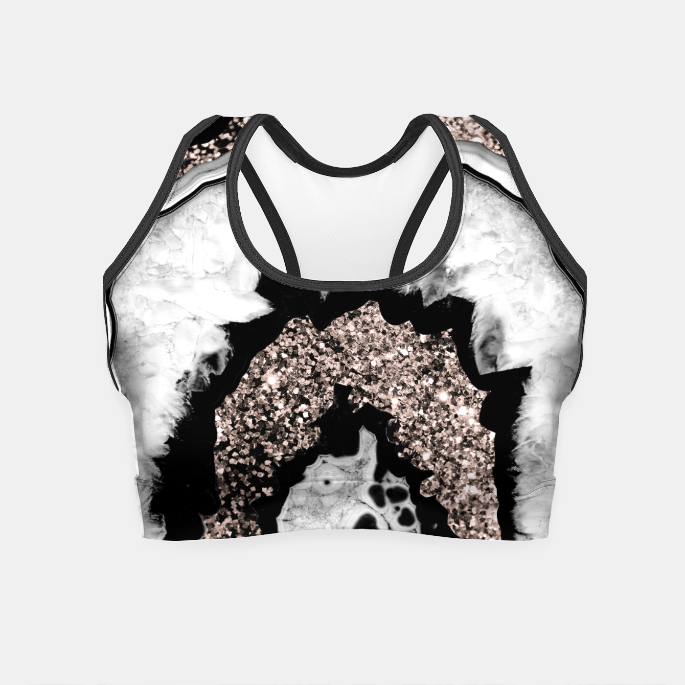 Image de Gray Black White Agate with Rose Gold Glitter #1a #gem #decor #art  Crop Top - Live Heroes