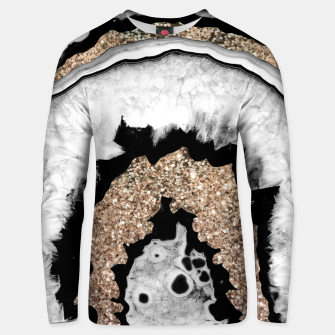 Miniaturka Gray Black White Agate with Gold Glitter #1a #gem #decor #art Unisex sweatshirt, Live Heroes