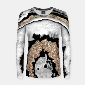 Gray Black White Agate with Gold Glitter #1a #gem #decor #art Frauen sweatshirt miniature