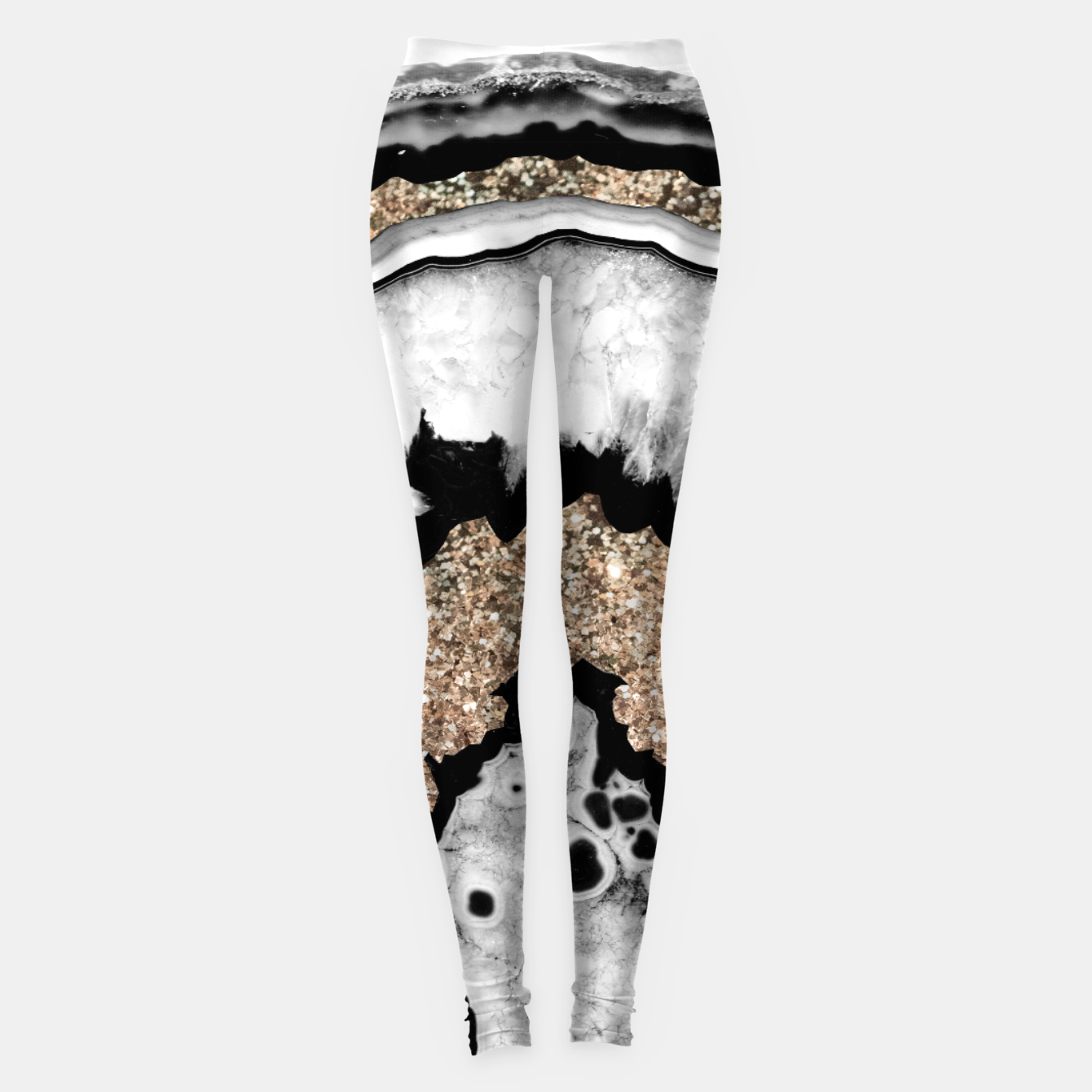 Image de Gray Black White Agate with Gold Glitter #1a #gem #decor #art Leggings - Live Heroes