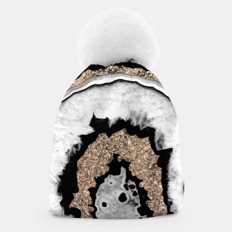 Miniaturka Gray Black White Agate with Gold Glitter #1a #gem #decor #art Mütze, Live Heroes