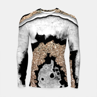 Gray Black White Agate with Gold Glitter #1a #gem #decor #art Longsleeve rashguard miniature