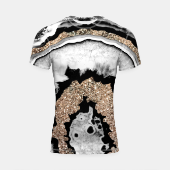 Gray Black White Agate with Gold Glitter #1a #gem #decor #art Shortsleeve rashguard miniature