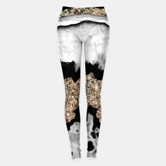 Gray Black White Agate with Gold Glitter #1a #gem #decor #art Leggings miniature