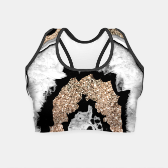 Miniature de image de Gray Black White Agate with Gold Glitter #1a #gem #decor #art Crop Top, Live Heroes