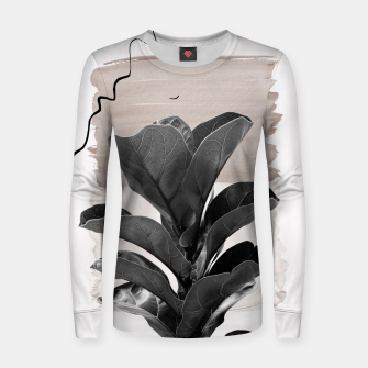Miniature de image de Fiddle Leaf Abstract - Naturelle #2 #minimal #wall #decor #art  Frauen sweatshirt, Live Heroes