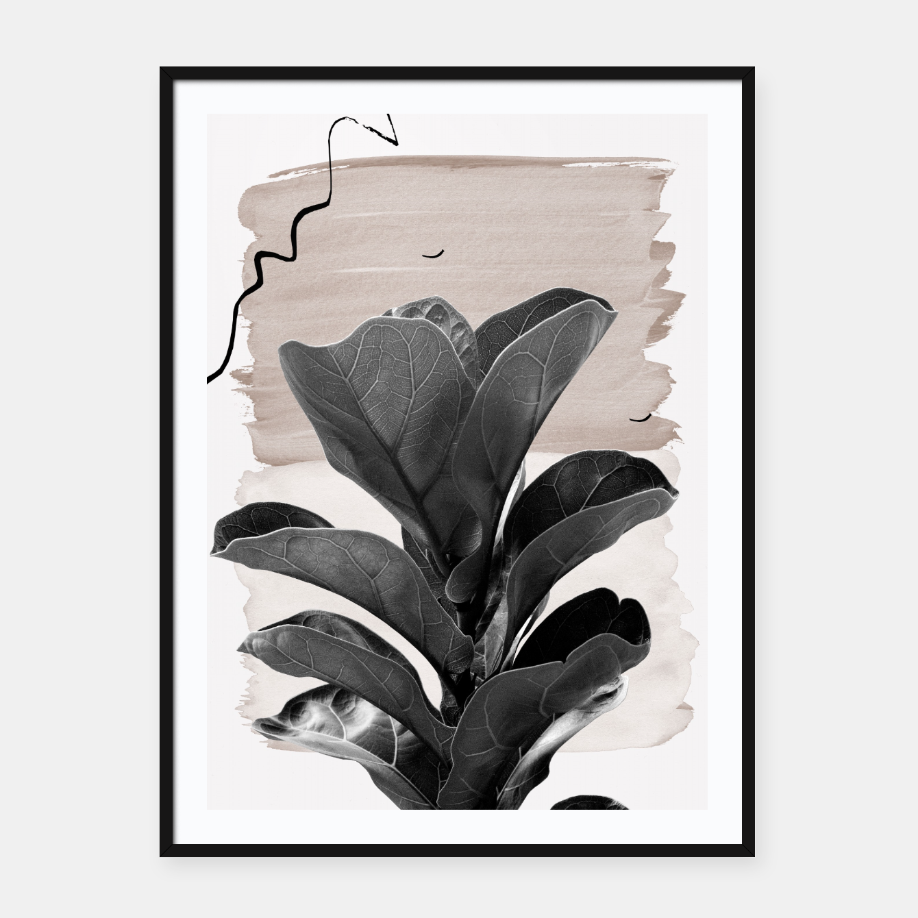 Image de Fiddle Leaf Abstract - Naturelle #2 #minimal #wall #decor #art  Plakat mit rahmen - Live Heroes