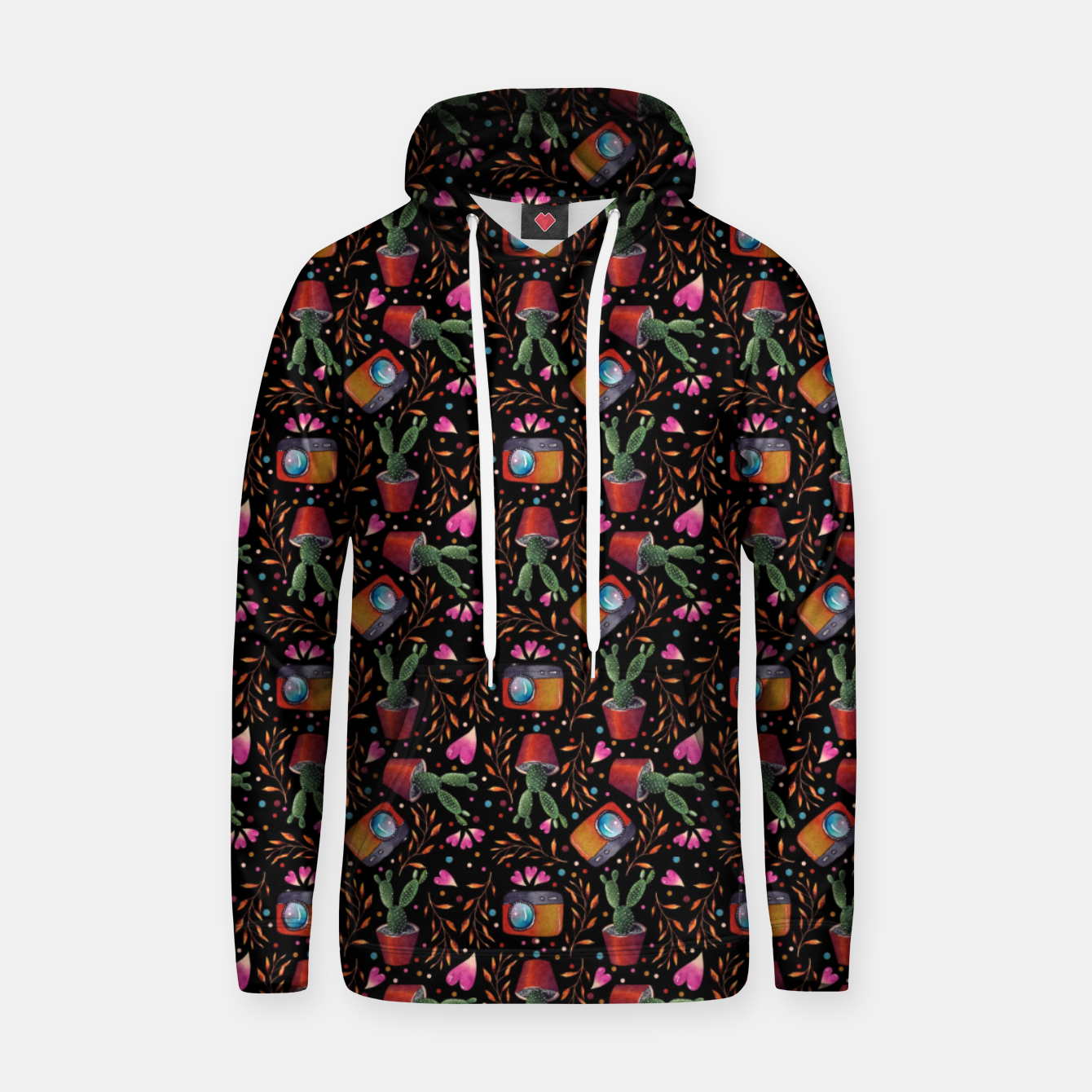 Image of Photography Pattern, Hand Drawn Illustration with Camera, Cactus, Shooter Colorful Design, Black Red Hoodie - Live Heroes
