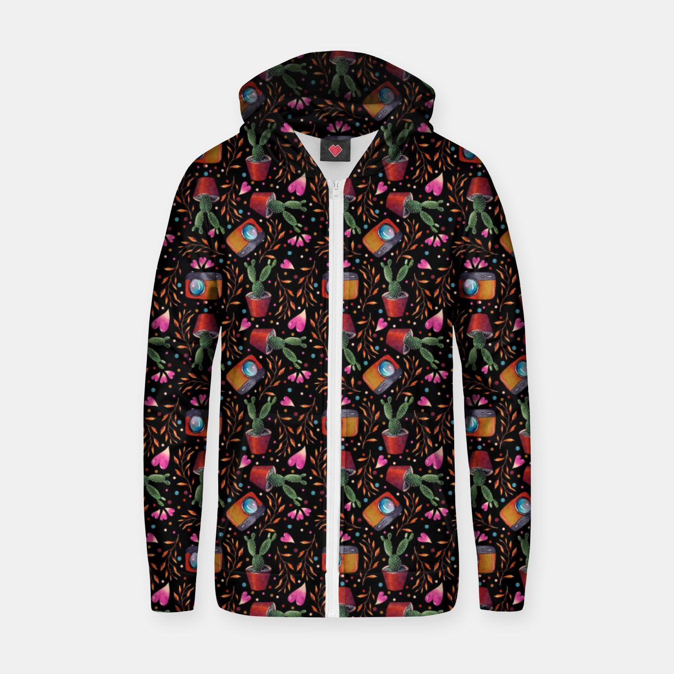 Image of Photography Pattern, Hand Drawn Illustration with Camera, Cactus, Shooter Colorful Design, Black Red Zip up hoodie - Live Heroes