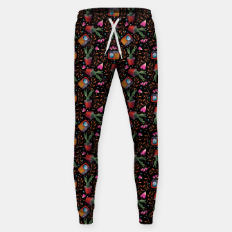 Photography Pattern, Hand Drawn Illustration with Camera, Cactus, Shooter Colorful Design, Black Red Sweatpants thumbnail image