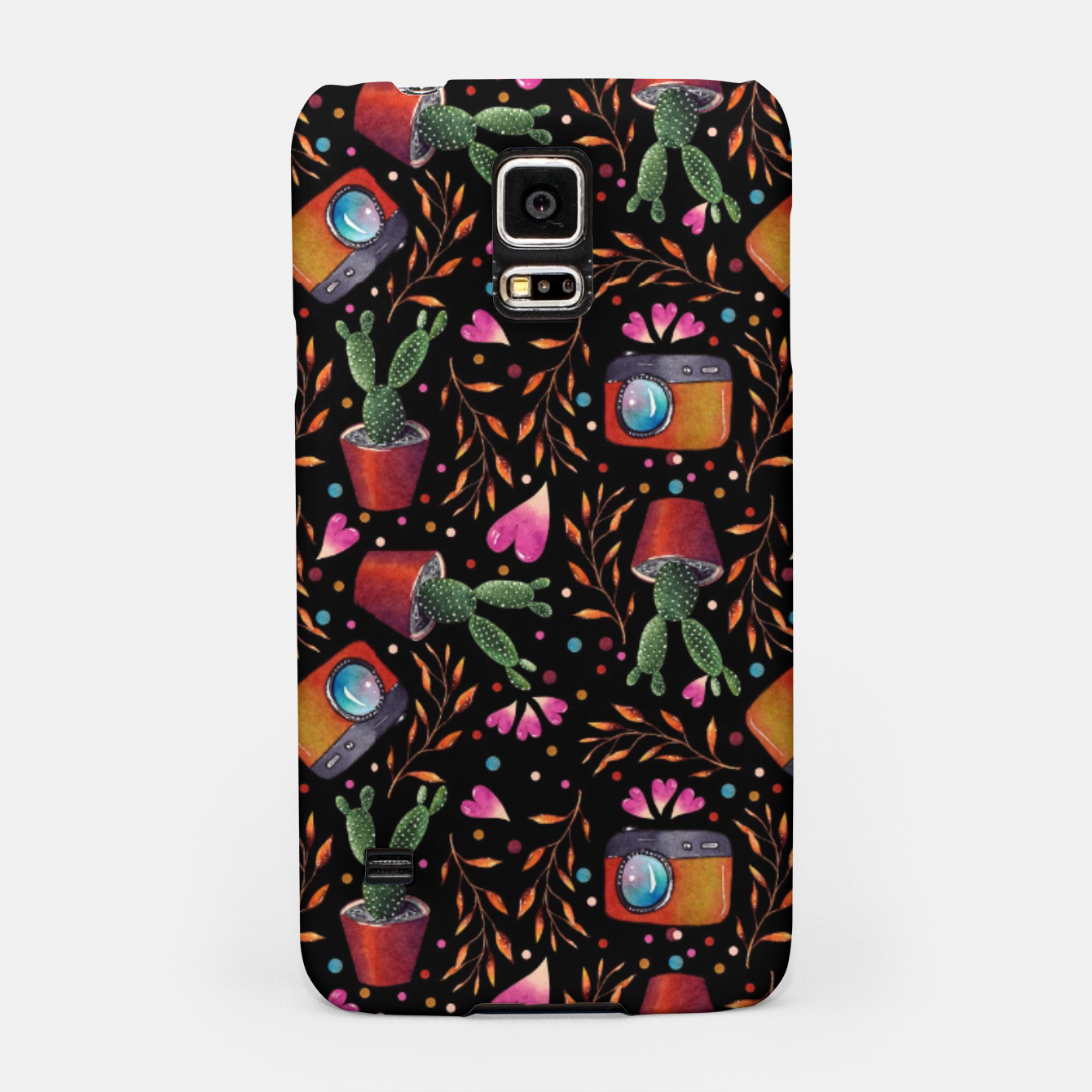 Image of Photography Pattern, Hand Drawn Illustration with Camera, Cactus, Shooter Colorful Design, Black Red Samsung Case - Live Heroes