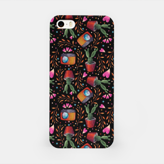 Photography Pattern, Hand Drawn Illustration with Camera, Cactus, Shooter Colorful Design, Black Red iPhone Case thumbnail image