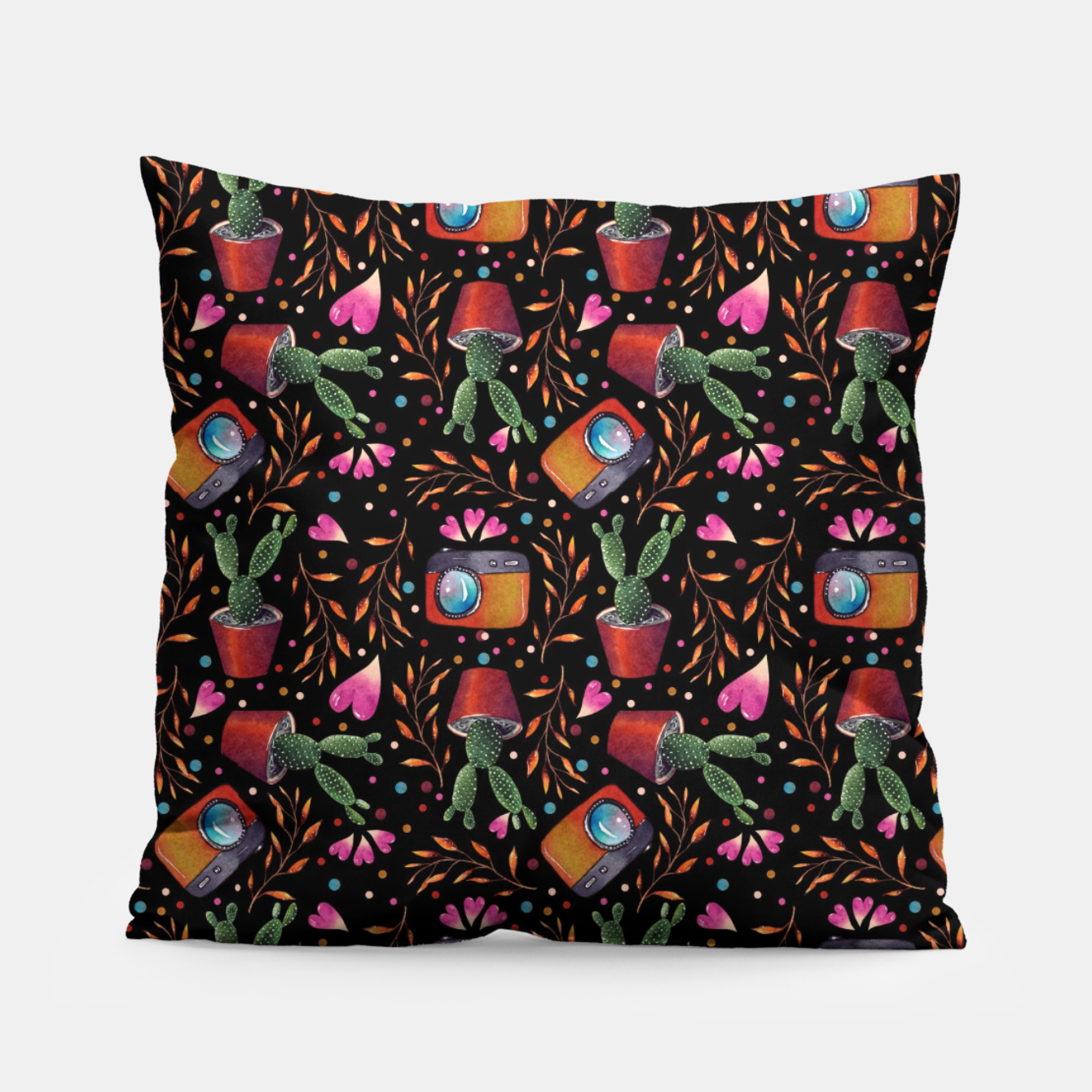 Image of Photography Pattern, Hand Drawn Illustration with Camera, Cactus, Shooter Colorful Design, Black Red Pillow - Live Heroes