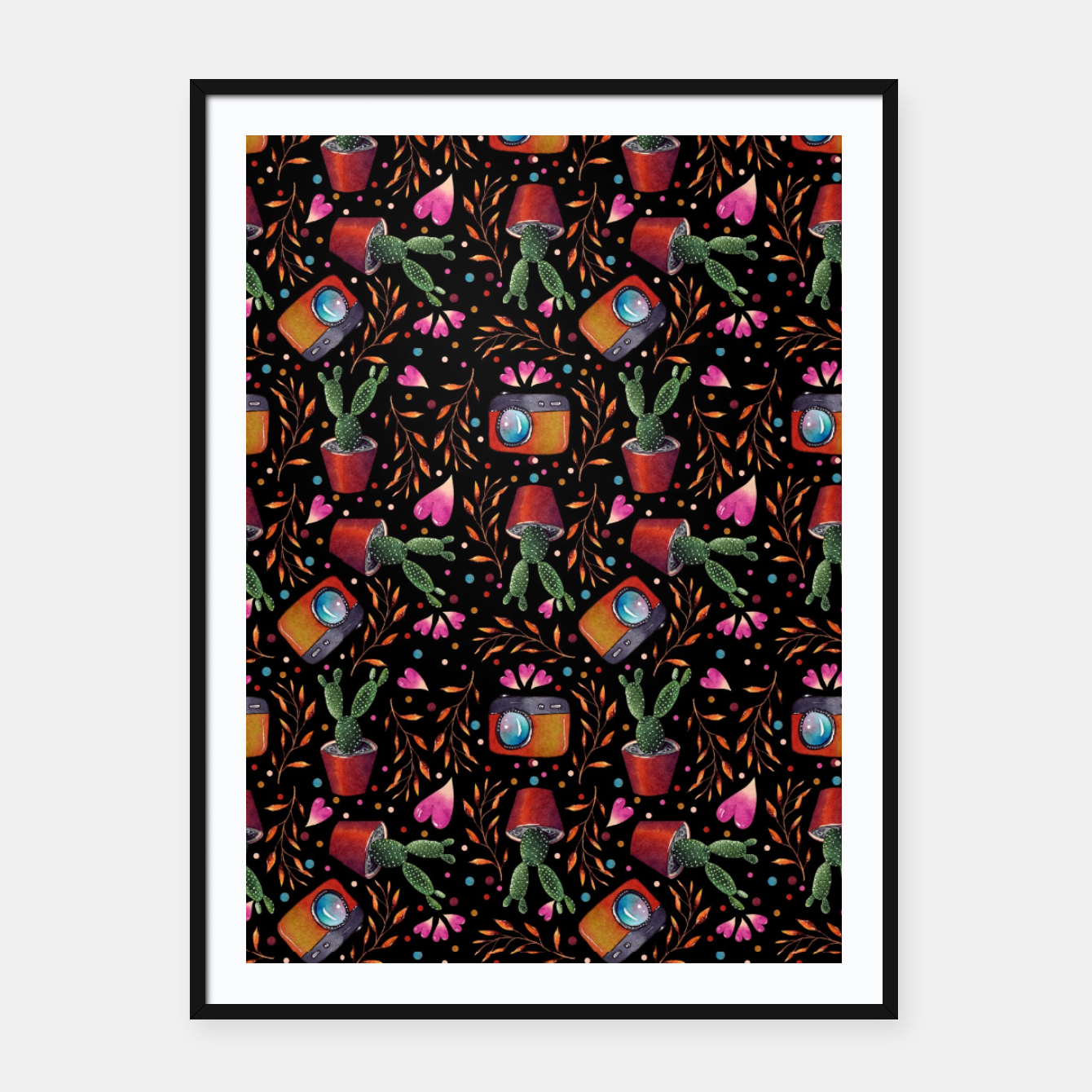 Image of Photography Pattern, Hand Drawn Illustration with Camera, Cactus, Shooter Colorful Design, Black Red Framed poster - Live Heroes