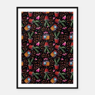 Thumbnail image of Photography Pattern, Hand Drawn Illustration with Camera, Cactus, Shooter Colorful Design, Black Red Framed poster, Live Heroes