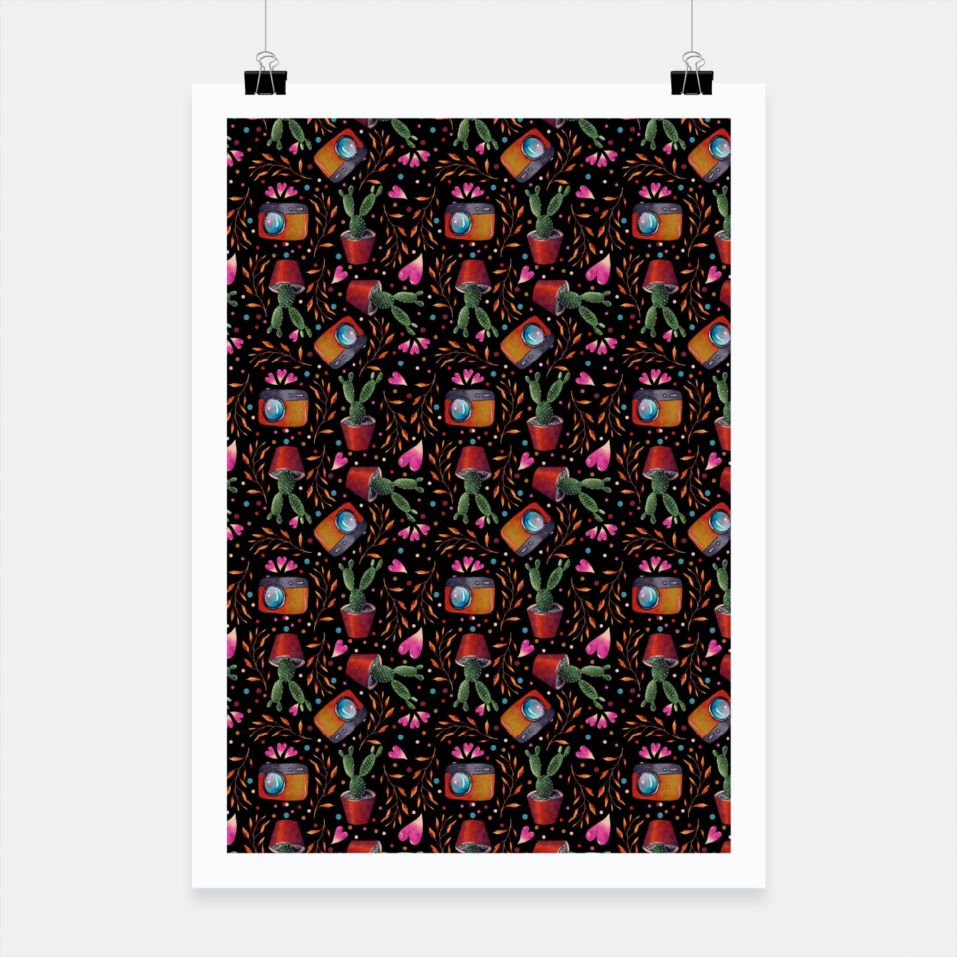 Image of Photography Pattern, Hand Drawn Illustration with Camera, Cactus, Shooter Colorful Design, Black Red Poster - Live Heroes