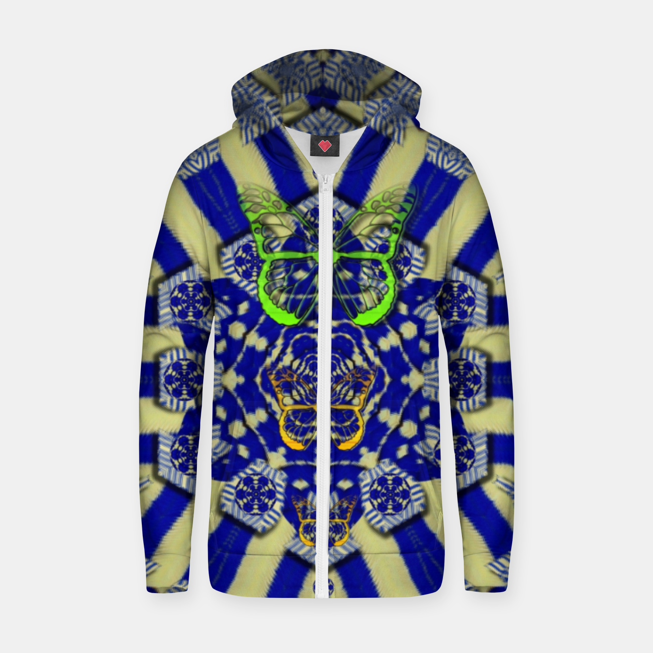 Foto Wood flower and matches with butterflies Zip up hoodie - Live Heroes
