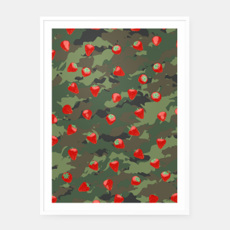 Miniaturka Kawaii Strawberry Camo WOODLAND Framed poster, Live Heroes