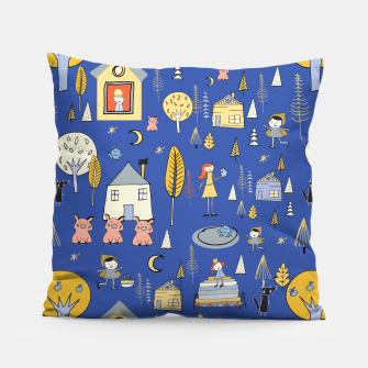 Thumbnail image of Wonderland Fairy Tale Blue Pillow, Live Heroes