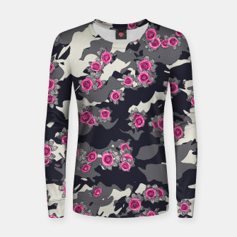 Thumbnail image of Roses Pink Camo URBAN VINTAGE Women sweater, Live Heroes